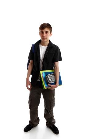 Gymnasiast, der Bücher trägt und Ausrüstung. Weißer Hintergrund.