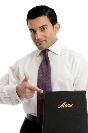 smartly: A smartly dressed waiter or restaurnt owner pointing to a menu.  Could also be a presentation, brochure or other business item.