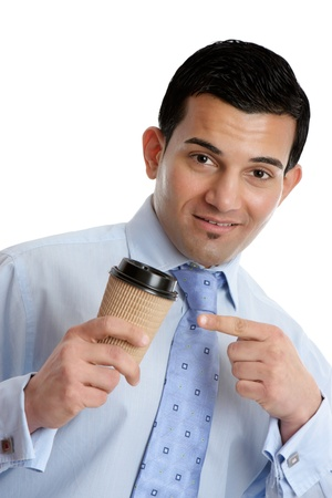 recommending: A businessman or salesman recommending or pointing to a takeaway coffee Stock Photo