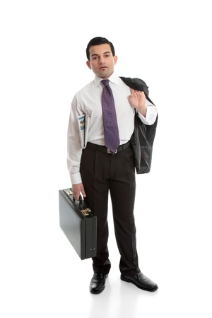 Businessman carrying a briefcase with newspaper under arm. Stock Photo - 13635576