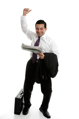 Businessman punching the air in success, celebration or accomplishment photo