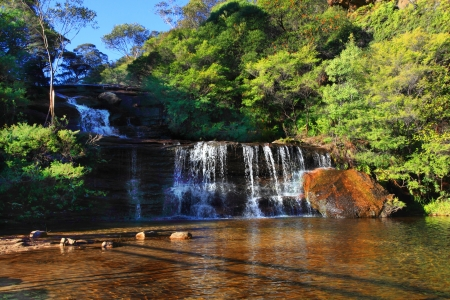 Just before the Jamison creek waters plunge over the sheer escarpment of the Blue Mountains, they fall in tiers known as Queens Cascades into a shallow sandy rockpool below, then flow over the sheer cliffs.