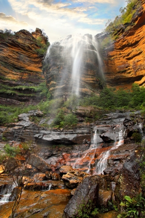 bushwalk: My view of the  Wentworth Falls waterfall from below   Entire elevation  867 metres  2,844 ft The total height of the waterfall is 187 metres and the water comes from the Kedumba Creek,