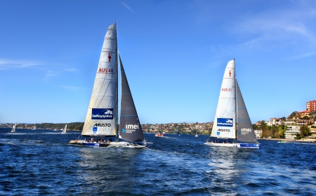 americal: Sydney, Australia - September 29, 2013   Residents or tourists sailing or sightseeing on Sydney Harbour aboard Americal