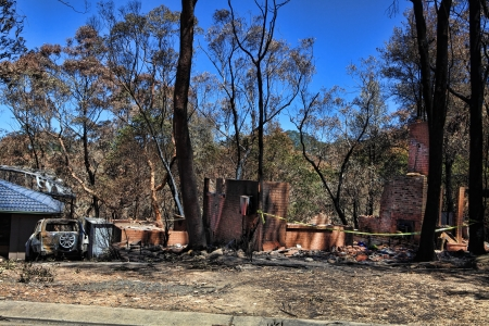 decimated: After the fire.   Bushfire destroys homes and vehicles in a random pattern while some are spared completely, others are razed to the ground.
