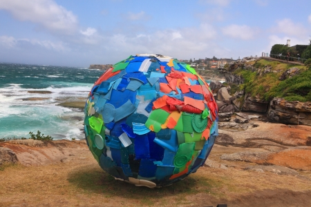 titled: BONDI BEACH, AUSTRALIA - OCTOBER 29, 2013  Sculpture By The Sea, Bondi 2013  Annual event that showcases artists from around the world  Sculpture titled