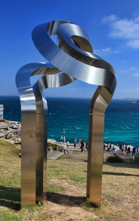 titled: Bondi - Tamarama Beach, Australia - November 9,  2013  Sculpture By The Sea, 2013  Annual cultural event that showcases artists from around the world  Exhibit titled