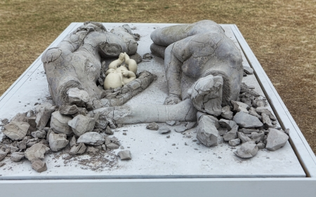 titled: Bondi  Australia - November 3,  2013: Sculpture By The Sea, 2013.   Sculpture titled (de) composition, family by Arun Sharma (New Zealand).  Medium - fired and unfired clay Editorial