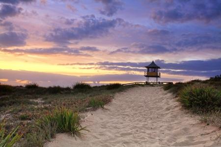 sensational: Sandy beach path leading to South Entrance Beach on the Central Coast of NSW, Australia on a beautiful summer sunrise
