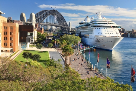 cruiseliner: Sydney, Australia - December 1, 2013;  Luxury Cruise liner, Radiance of the Seas, docked at Circular Quay and passengers disembark