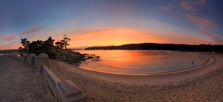 accessed: Sunrise at beautiful Balmoral Beach, Mosman, Sydney, Australia, with Rocky Point Island to the left which is accessed by the stone arch bridge.