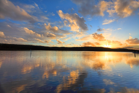 moorings: Summer sunset over the oyster farms, Central Coast, Australia Stock Photo