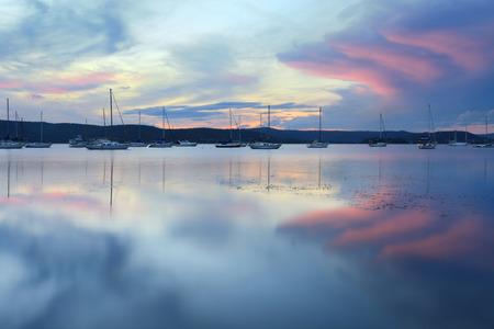 splendour: Pastel colours in the sky at sunset in Saratoga Central Coast, Australia
