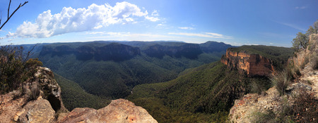 splendour: Panorama view of the Grose Valley in the Blue Mountains NSW Australia