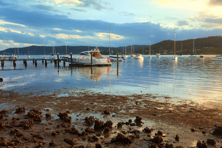moorings: Boat moorings in the late afternoon sun, at Point Frederick, Gosford NSW Australia