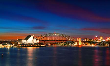 pink sunset: SYDNEY, AUSTRALIA - APRIL 8, 2014; Sunset Sydney