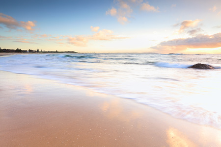 hues: The soft morning colours and hues at the beach in Autumn, Hargraves Beach, NSW Australia