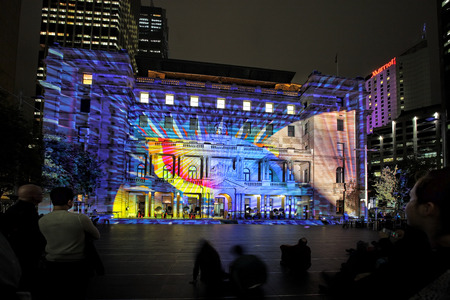 outdoor event: SYDNEY, NSW, AUSTRALIA - JUNE 4, 2014;  Play Me on Historic Customs House at Circular Quay Sydney during Vivid Sydney annual festival event    Participants interact to bring it to life in glorious ever-changing colour, light, form and sound