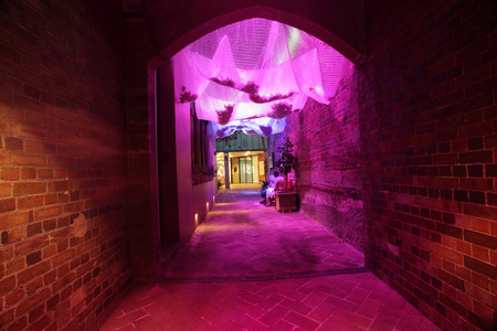 aural: THE ROCKS, AUSTRALIA - JUNE 2, 2014; Heavens Cloth is an active and porous ceiling  made from translucent rings the colours of light is refracted to sparkle above the visitor as well an aural soundscape musical circle of fifths creates a harmonious atmosp