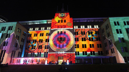 imagery:  SYDNEY, NSW, AUSTRALIA - JUNE 2, 2014; Museum of Contemporary Art comes alive with projections of moving imagery and music  during Vivid Sydney festival event for locals and tourists to enjoy