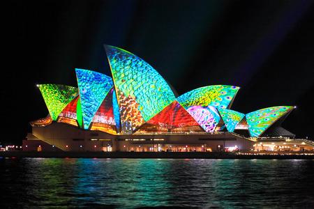 opera: SYDNEY, AUSTRALIA - JUNE 2, 2014;  Sydney Opera House in bright colours during Vivid Sydney annual festival of light, music and ideas