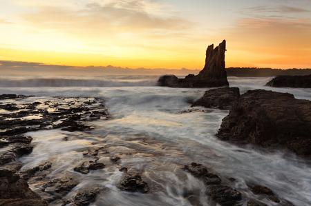 kiama: Sunrise morning and beautiful Cathedral Rocks, on the south coast of NSW, Australia.  hdr ro some rocks Stock Photo