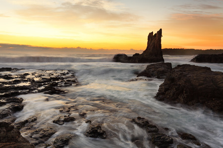 Sunrise morning and beautiful Cathedral Rocks, on the south coast of NSW, Australia.  hdr ro some rocks Stock Photo