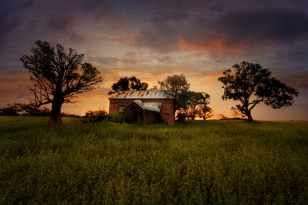 Old abandoned rural farm house lies in ruins in a field with overgrown weeds at sunset Stock Photo