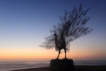 titled: BONDI, AUSTRALIA -  OCTOBER 25, 2014; Sculpture by the Sea annual public event 2014.  Sculpture titled Our Memory in Your Place by Byeong Doo Moon, South Korea.  Materials, stainless steel, granite  Price $128000