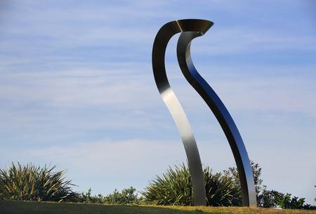 titled: BONDI, AUSTRALIA - OCTOBER 23, 2014; Sculpture by the Sea Annual free public event 2014.  Exhibit titled Transfiguration Raise III   by artist MitsuoTakeuchi, Japan,