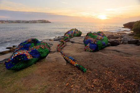 argent: BONDI, AUSTRALIA - OCTOBER 27, 2014; Sculpture by the Sea Annual Festival Event 2014.  Sculpture titled Overconsumption by artist Kerrie Argent, WA, made of plastic lids, cable ties and plastic bottles, lie on the rocks at Bondi taken just after sunrise.