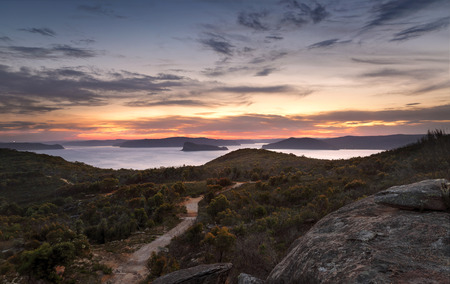 bod: Views from Box Head, overlooking Lion Island  Broken Bay, Pittwater Stock Photo