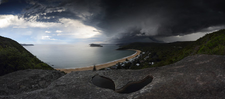 Sydney summer supercell thunderstorm vision over Sydney, Broken Bay, and part of Cental Coast.  A supercell is caused by a rotating updraft when cooler air underflows the warmer moisture laden air. As the cooler but drier air circulates to the warm moistu