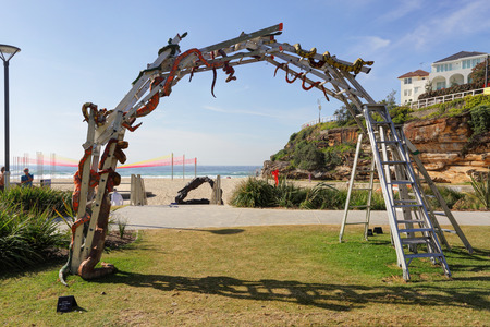 snakes and ladders: BONDI, AUSTRALIA - OCTOBER 30, 2014; Sculpture by the Sea Annual free public event 2014.  Exhibit titled Snakes and Ladders  by artist Hannah Kidd, NZ on Tamarama Beach.