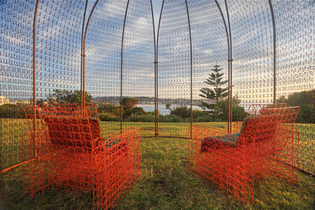 titled: BONDI, AUSTRALIA - OCTOBER 23, 2014; Sculpture by the Sea .  Sculpture titled The Last Resort by Frank Veldze and Suzanne Donisthorpe , at Bondi.  Made from mattress springs Editorial