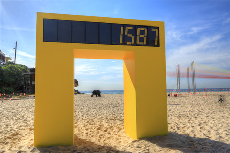 titled: BONDI, AUSTRALIA -  OCTOBER 23, 2014; Sculpture by the Sea annual free public event 2014.  Sculpture titled Counter by Geoffrey Drake-Brockman, WA.  Everyone has a choice, to be counted or not be counted.