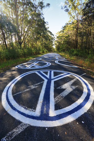 amity: SEAL ROCKS, AUSTRALIA - NOVEMBER 29, 2014; The drive into the remote coastal town of  Seal Rocks you are confronted with magnificent peace signs unlawful grafitti painted largely and boldly on the road.  Seal Rocks is well known for its  peaceful resistan Editorial
