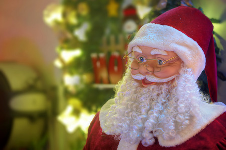 klaus: LALOR PARK, AUSTRALIA - DECEMBER 23, 2014;  Happy joyous Santa Klaus figure and christmas decorations and lights