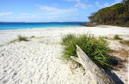 unspoilt: Greenfields Beach Jervis Bay is a rustic natural and unspoilt beach in Jervis Bay, Australia.   It is located along the White Sands Walk, a superb and breathtaking track. Stock Photo