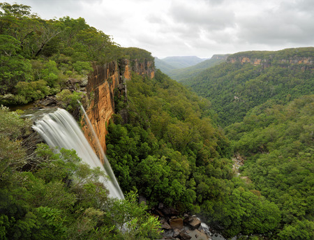 bushwalk: Fitzroy Falls drops 81 metres into the Yarrunga Valley below filled with eucalypt trees and rainforest plants.  Located in the Morton National Park, Southern Highlands of NSW, Australia