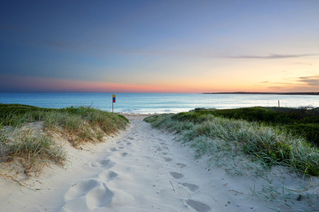 The sound of the waves and rustling leaves along the sandy beach trail at sundown.  Last light Greenhills Beach, Australia Banque d'images