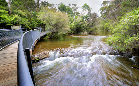 traverse: Fast flowing water on the approach to Fitzroy Falls.   A timber and steel walking bridge allows visitors to traverse both sides of the escarpment