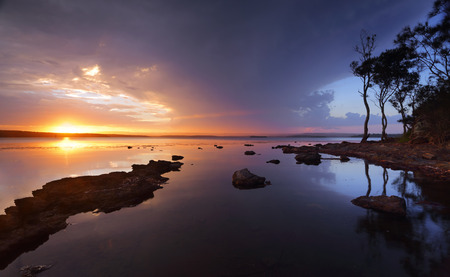 georges: Sunset over the serene waters of St Georges Basin, Sanctuary Point