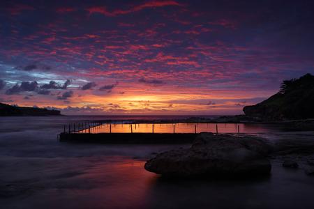 long bay: Dawn skies over Malabar Rock Pool and Long Bay, Sydney Australia