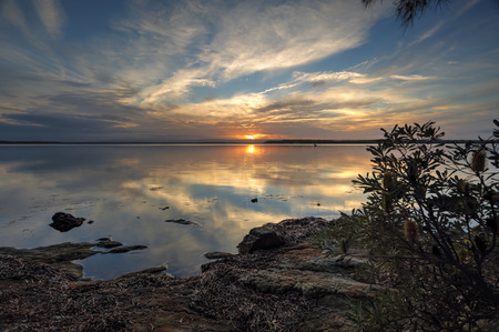 georges: Sunset from the banks of St Georges Basin, south coast NSW Stock Photo