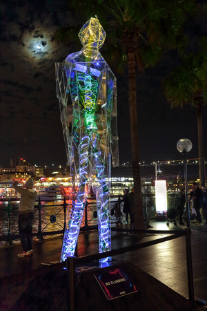 reveals: SYDNEY AUSTRALIA  MAY 25 2015 Sydney Vivid exhibit Exposed reveals the interior worlds of three giant humanoid figures each of which is transparent. Artists: Mark Gregan  Leo Trimboli  Catalina Chica  Patrick ODowd