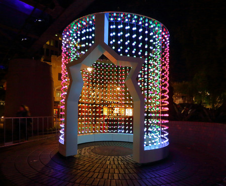 realtime: SYDNEY AUSTRALIA  MAY 25 2015 Space Folding is a towering cylinder that morphs into multicoloured patterns of light and sound in response to realtime flight data from Sydney airspace. Editorial