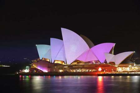 each year: SYDNEY AUSTRALIA  MAY 26 2015  Sydney Opera House illuminated for Vivid Sydney annual festival event put on each year by NSW Government and Destination NSW Editorial