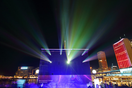 fascination: SYDNEY AUSTRALIA  MAY 27 2015   Some of the projectors at Vivid Sydney.  These ones create light and effects on the Museum of Contemporary Art building whilst surrounding buildings facades are also lit in a kaleidoscope of ever changing pretty colours.  P