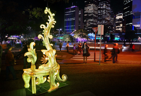 western culture: SYDNEY AUSTRALIA  MAY 27 2015 Vivid Sydney installation called Entitle which references both Eastern and Western culture to enhance the theme of overindulgence using the lavish Chinese lantern technique the overly ornate Rococoinspired design  Artist: Ama